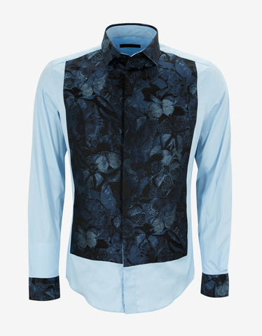 Valentino Blue Shirt with Silk Camubutterfly Panel