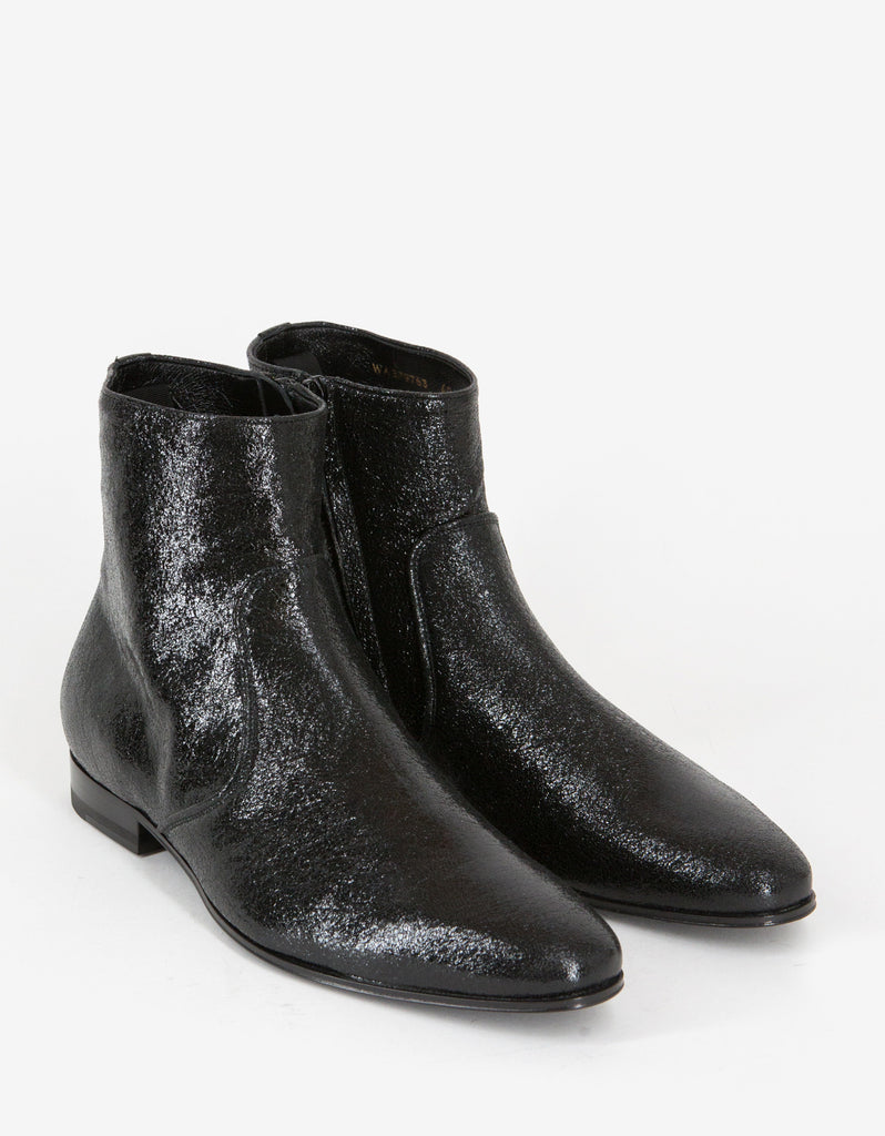 Black Coated Leather Chelsea Boots