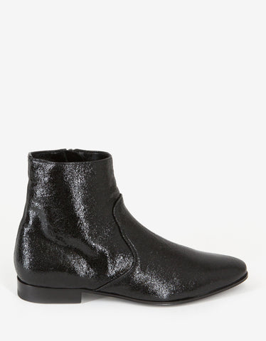 Saint Laurent Black Coated Leather Chelsea Boots