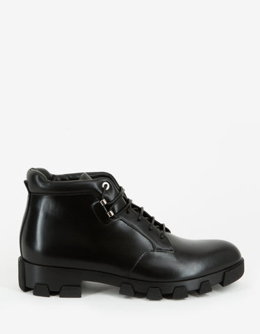 Balenciaga Black Leather Ankle Boots