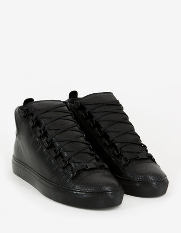 Balenciaga Black Water Snake High Top Trainers