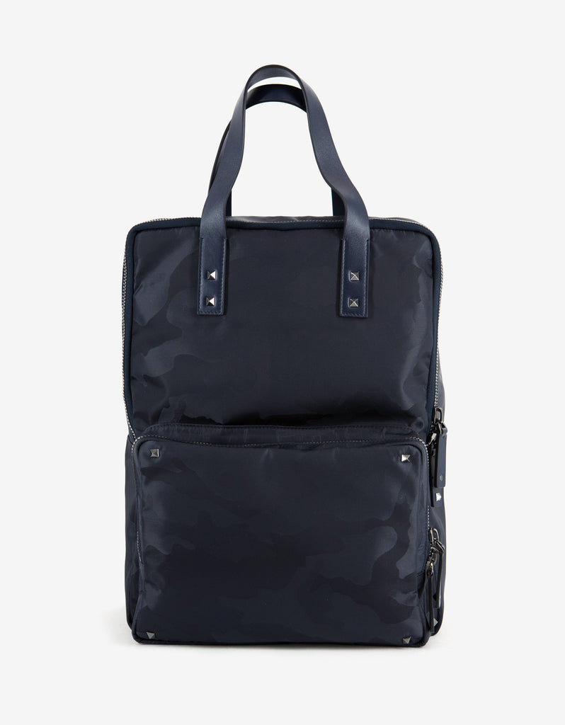 Navy Blue Canvas Camouflage Backpack