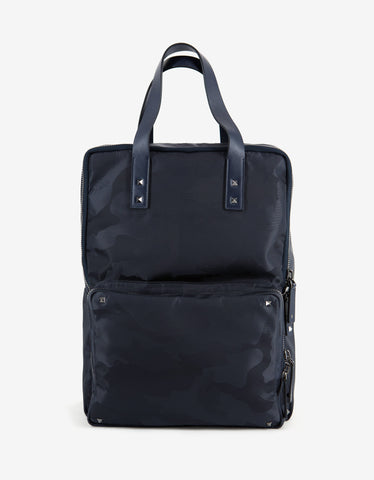 Valentino Garavani Navy Blue Canvas Camouflage Backpack