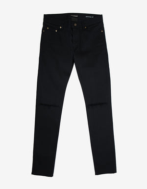 Black D02 Blow Out Knee Skinny Jeans