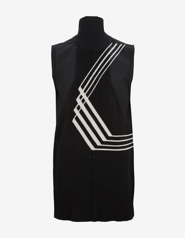 Rick Owens Black Geopatch Sleeveless T-Shirt