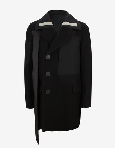Rick Owens Black Wool Caped Peacoat