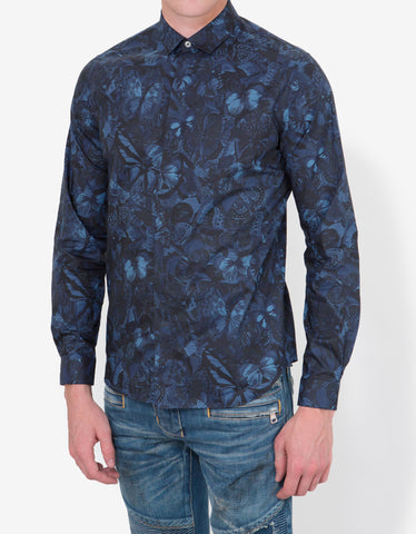 Valentino Deep Blue Camubutterfly Graphic Shirt