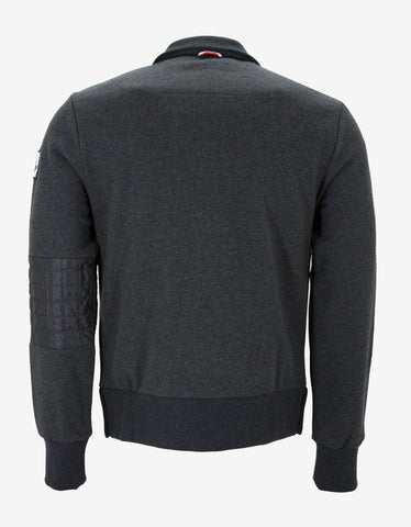 Moncler Gamme Bleu Grey Quilted Panel Zip Sweatshirt