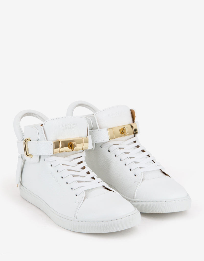 100mm White High Top Trainers