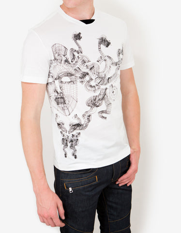 Versace White Wireframe Medusa Head T-Shirt