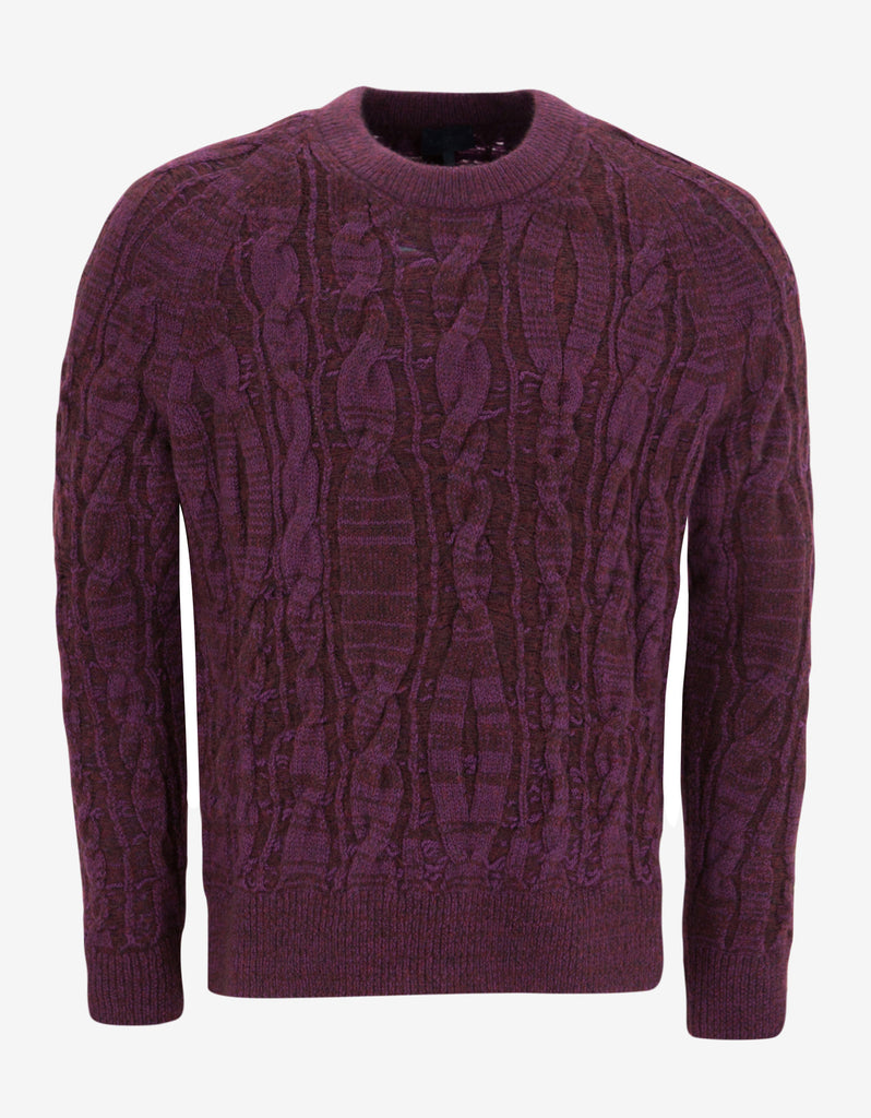 Purple Cable Knit Wool Blend Sweater
