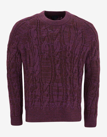 Lanvin Purple Cable Knit Wool Blend Sweater