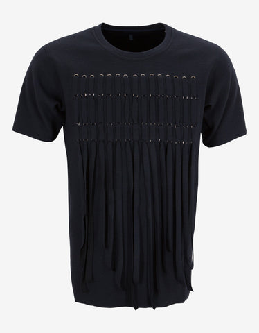 Lanvin Navy Blue Wool Flannel Fringe T-Shirt