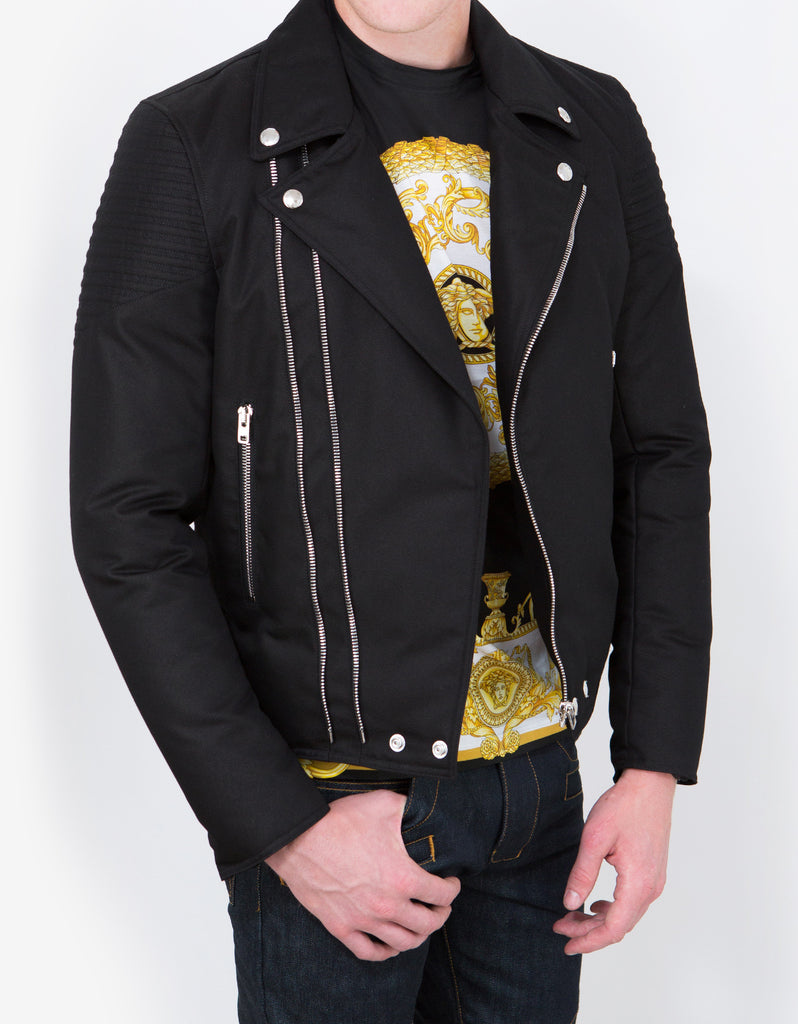 Black Down Padded Biker Jacket