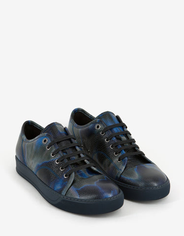 Lanvin Blue Tye & Dye Print Leather Trainers