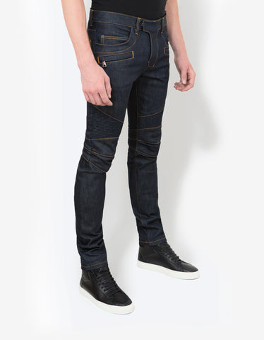Balmain Blue Raw Denim Biker Style Slim Jeans