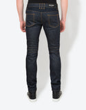 Blue Raw Denim Biker Style Slim Jeans
