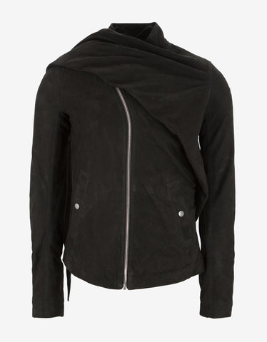 Rick Owens Wrap Bomber Black Leather Jacket