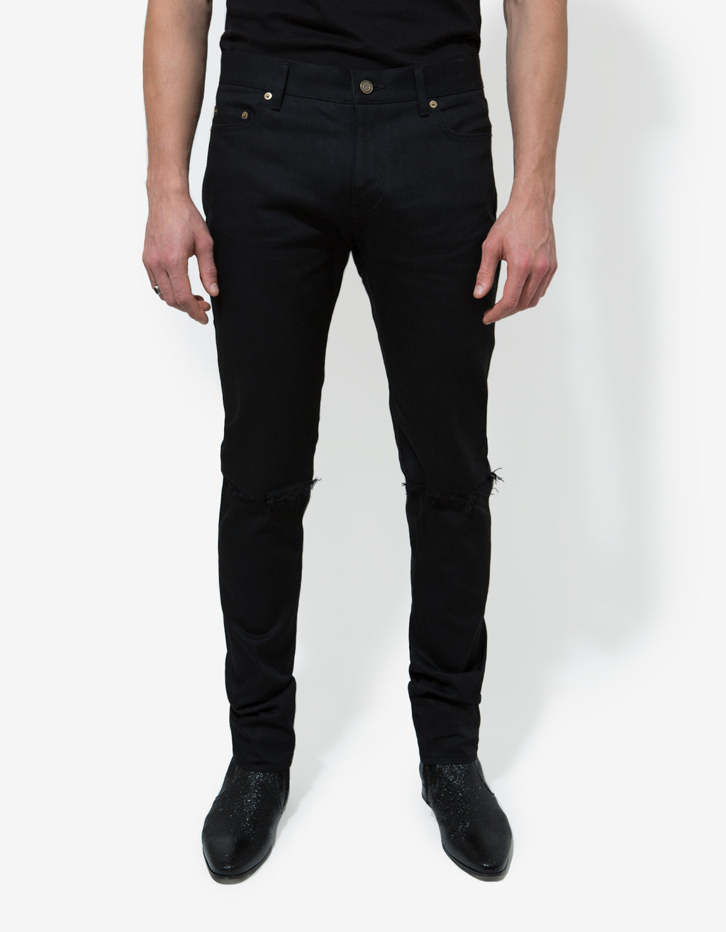 Black D02 Blow Out Knee  Slim Jeans