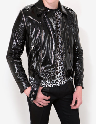 Saint Laurent Black Vinyl Perfecto Jacket
