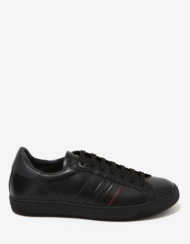Moncler New Gourette Black Leather Trainers