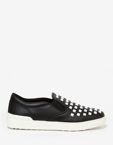 Valentino Garavani Black Leather Rockstud Plimsolls