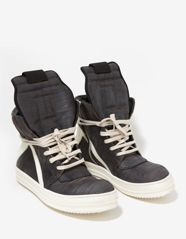 Rick Owens Geobasket Laser-Cut Leather High Top Trainers