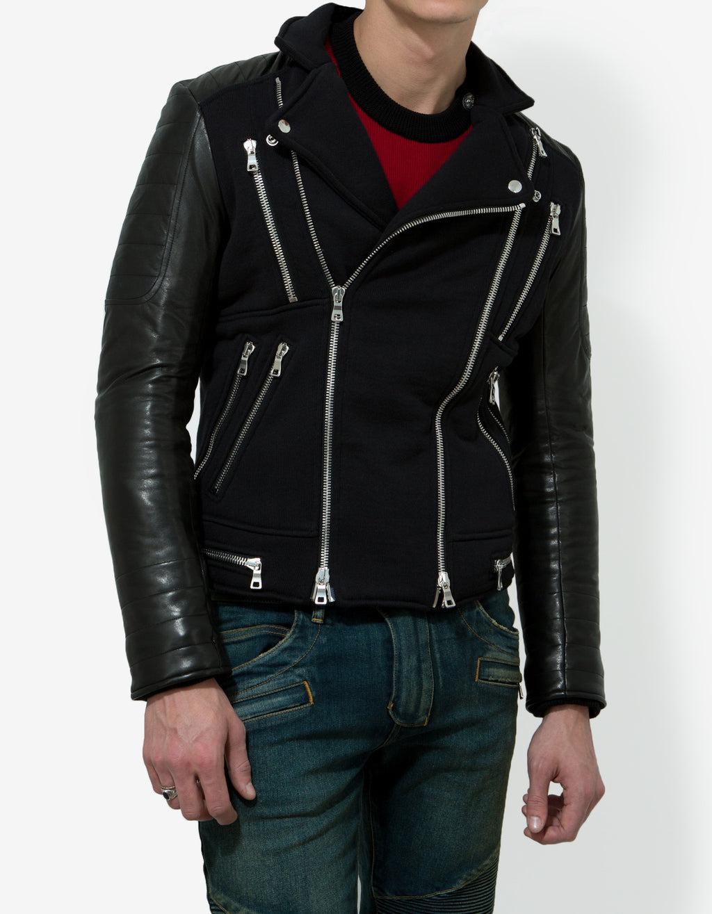 Black Leather & Cotton Biker Jacket