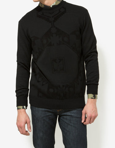 Givenchy Black Wool Persian Rug Pattern Sweater