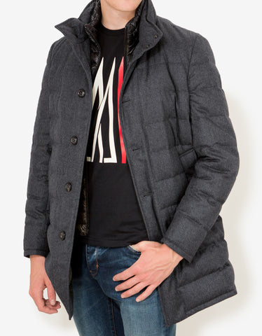 Moncler Vallier Grey Quilted Down Coat