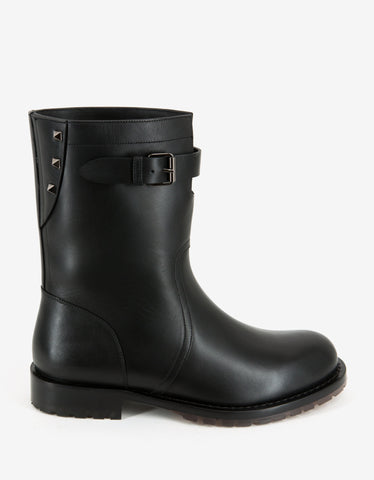 Valentino Garavani Black Leather Rockstud Boots