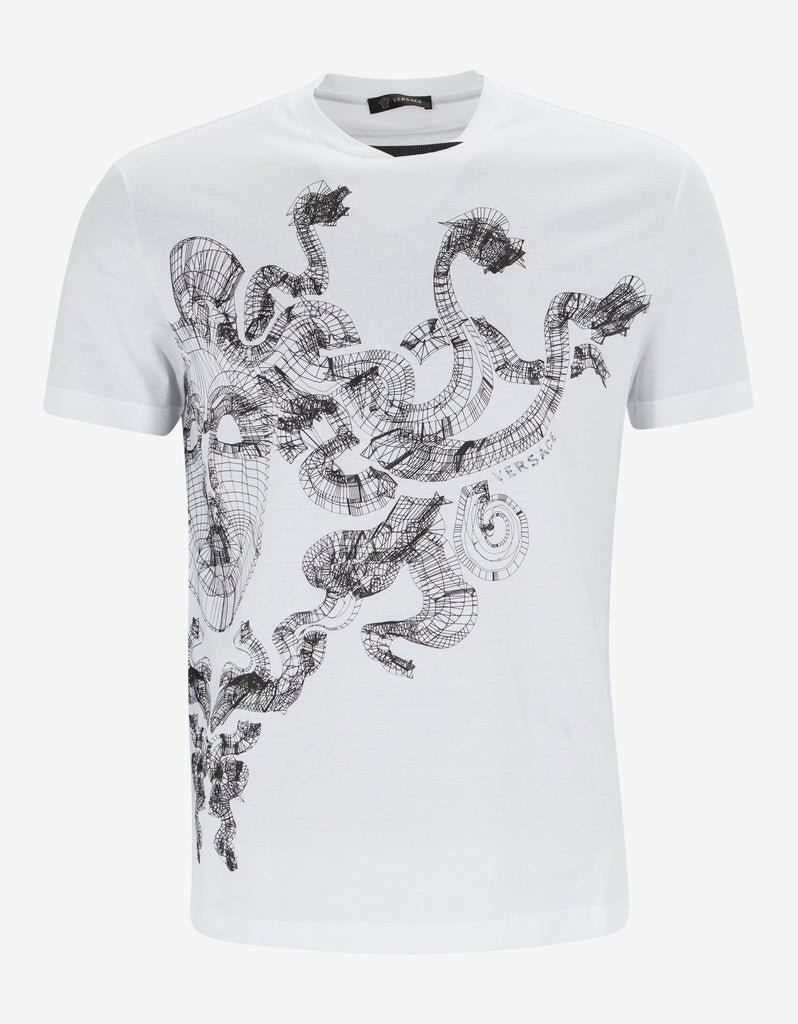 White Wireframe Medusa Head T-Shirt