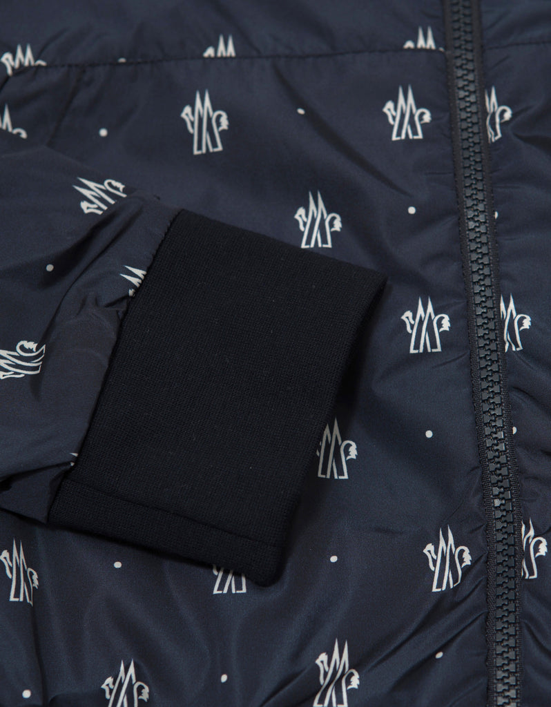 Navy Blue Logo Print Lightweight Jacket