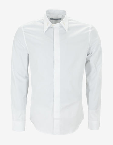 Givenchy White Shirt with Mother of Pearl Collar Stays