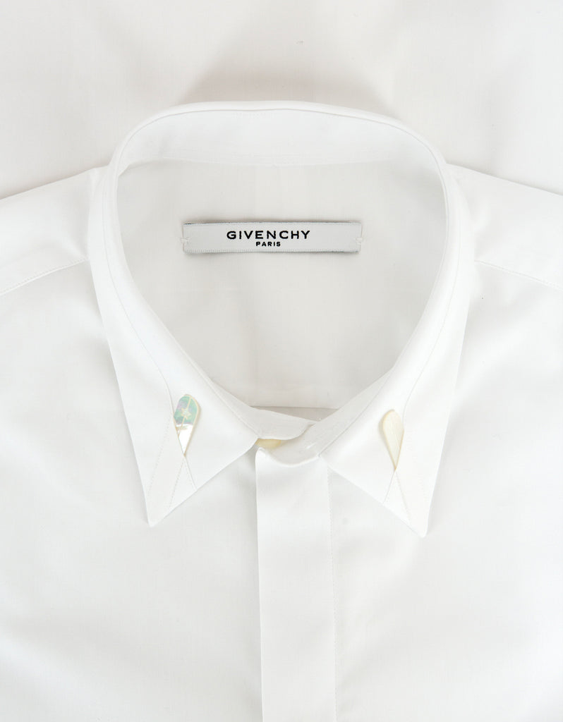White Shirt with Mother of Pearl Collar Stays