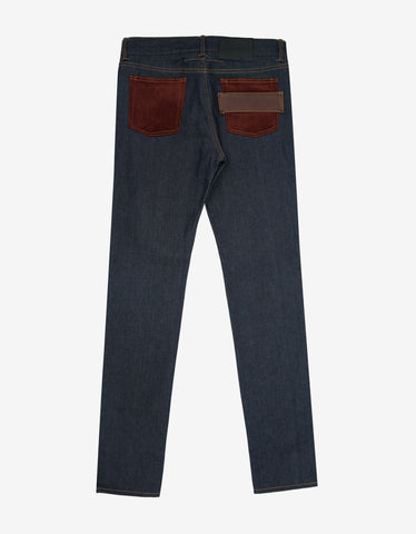 Givenchy Blue Contrast Panel Slim Denim Jeans