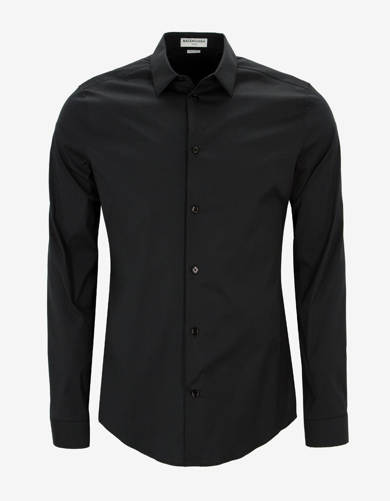 Black Stretch Cotton Slim Fit Shirt