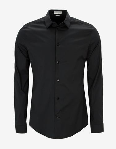 Balenciaga Black Stretch Cotton Slim Fit Shirt