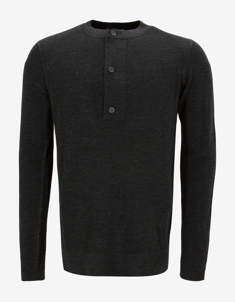 Grey Contrast Panel Knitted Henley Top