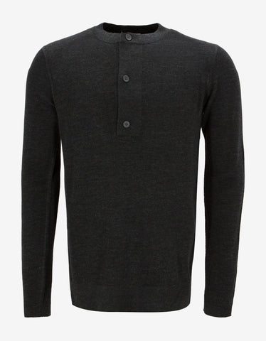 Balenciaga Grey Contrast Panel Knitted Henley Top