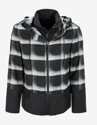 Balenciaga Grey Check Panelled Windbreaker