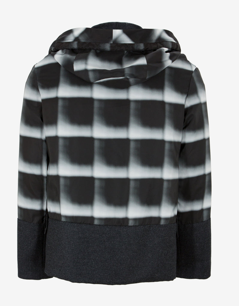 Grey Check Panelled Windbreaker