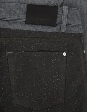 Grey Coated Panel Denim Jeans -