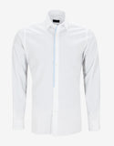 White Fitted Shirt with Placket Trim