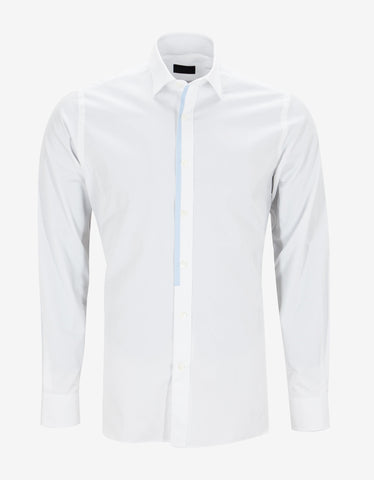 Lanvin White Fitted Shirt with Placket Trim