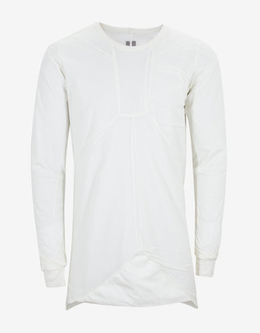 Rick Owens Milk White Long Sleeve Bonded T-Shirt