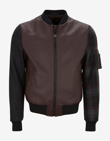 Lanvin Grey Contrast Panel Bomber Jacket