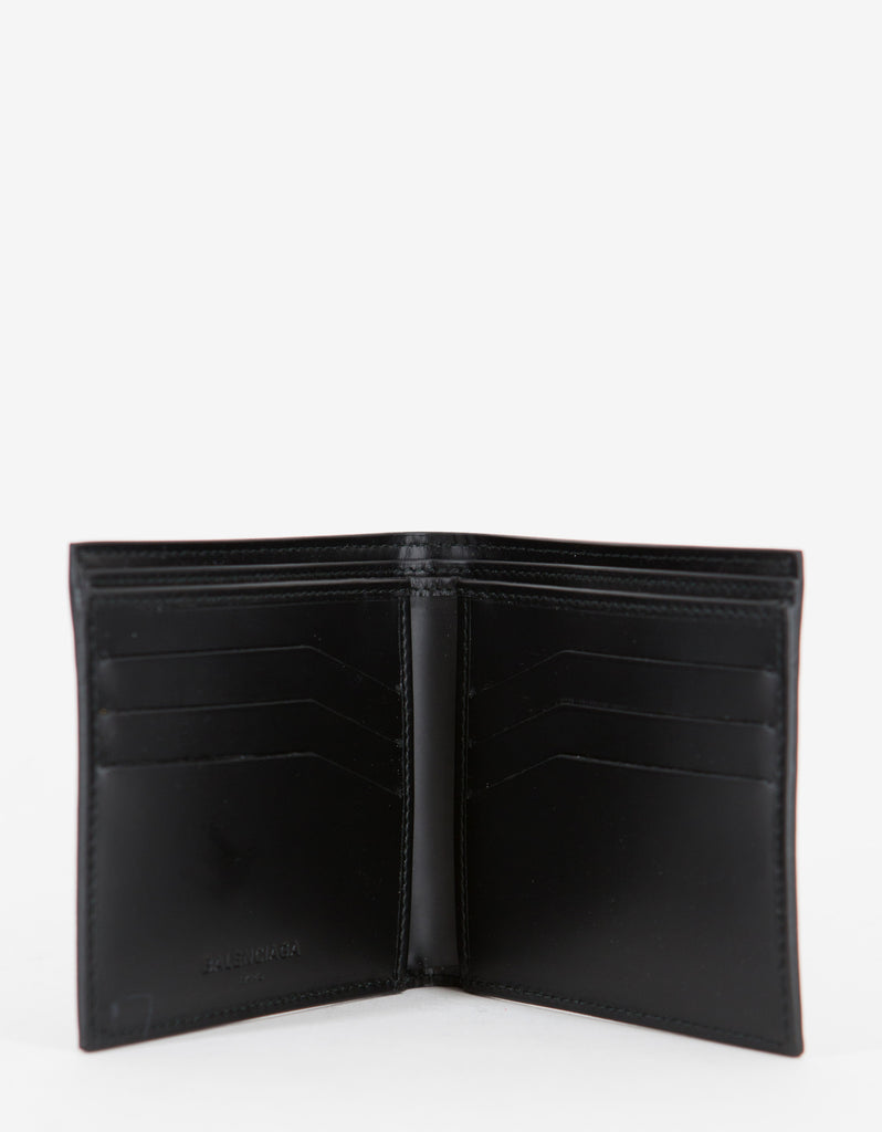 Black Studded Leather Billfold Wallet -