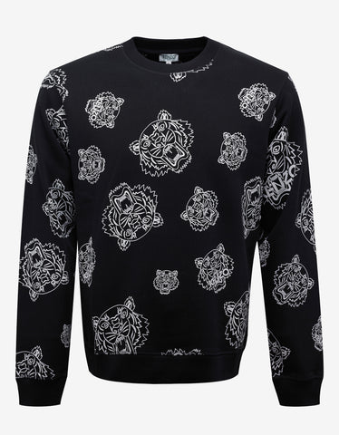 Kenzo Black All-Over Tiger Print Sweatshirt