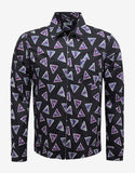 Black Bermuda Triangle Print Zip Shirt